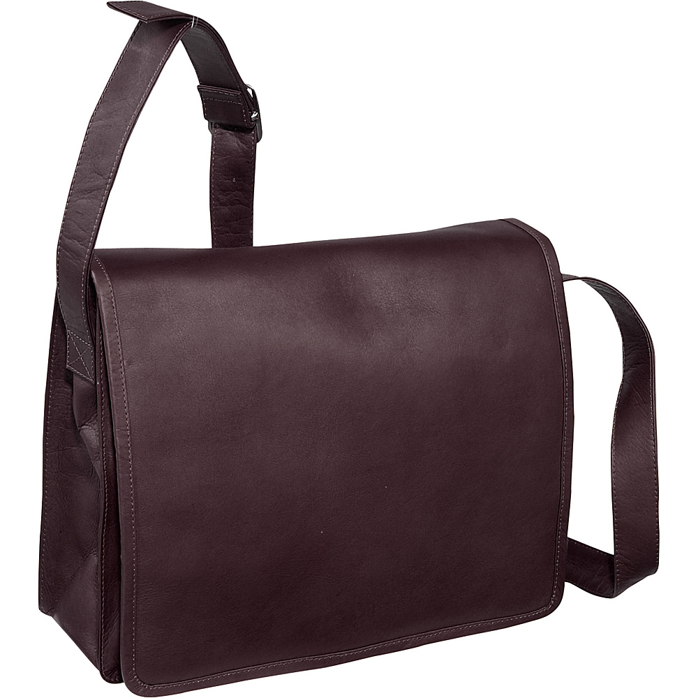 Piel Large Handbag with Organizer - Chocolate - Handbags, Leather Handbags