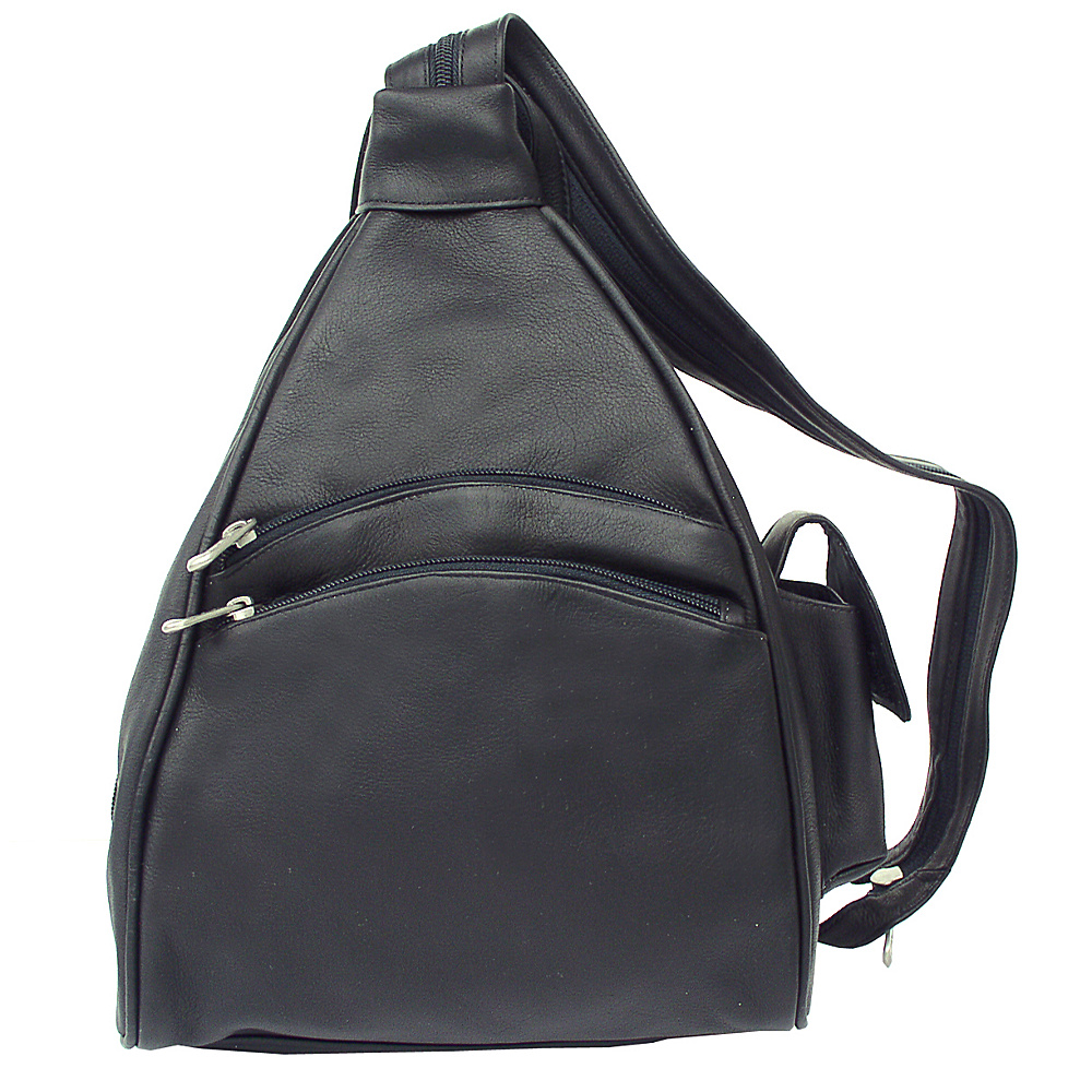 Piel Two-Pocket Sling - Black - Handbags, Leather Handbags