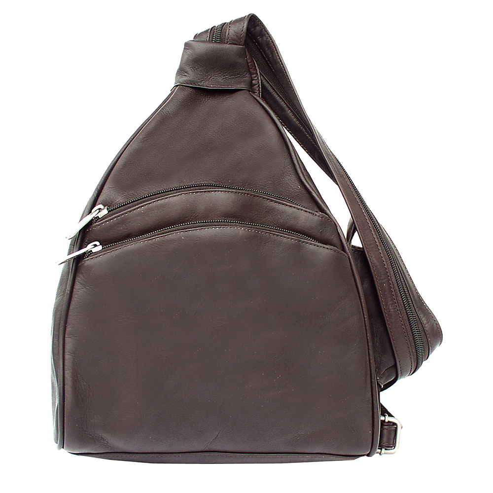 Piel Two-Pocket Sling - Chocolate - Handbags, Leather Handbags