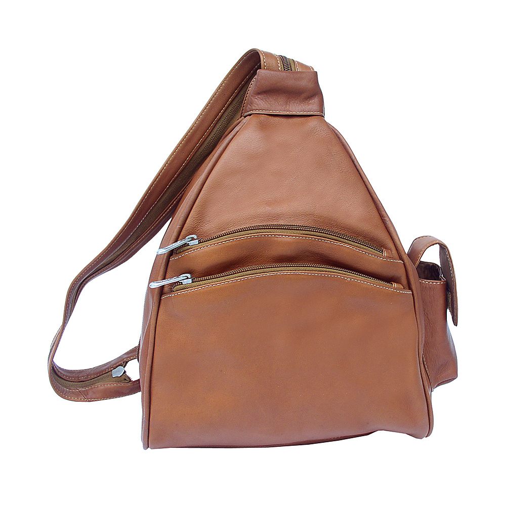 Piel Two-Pocket Sling - Saddle - Handbags, Leather Handbags