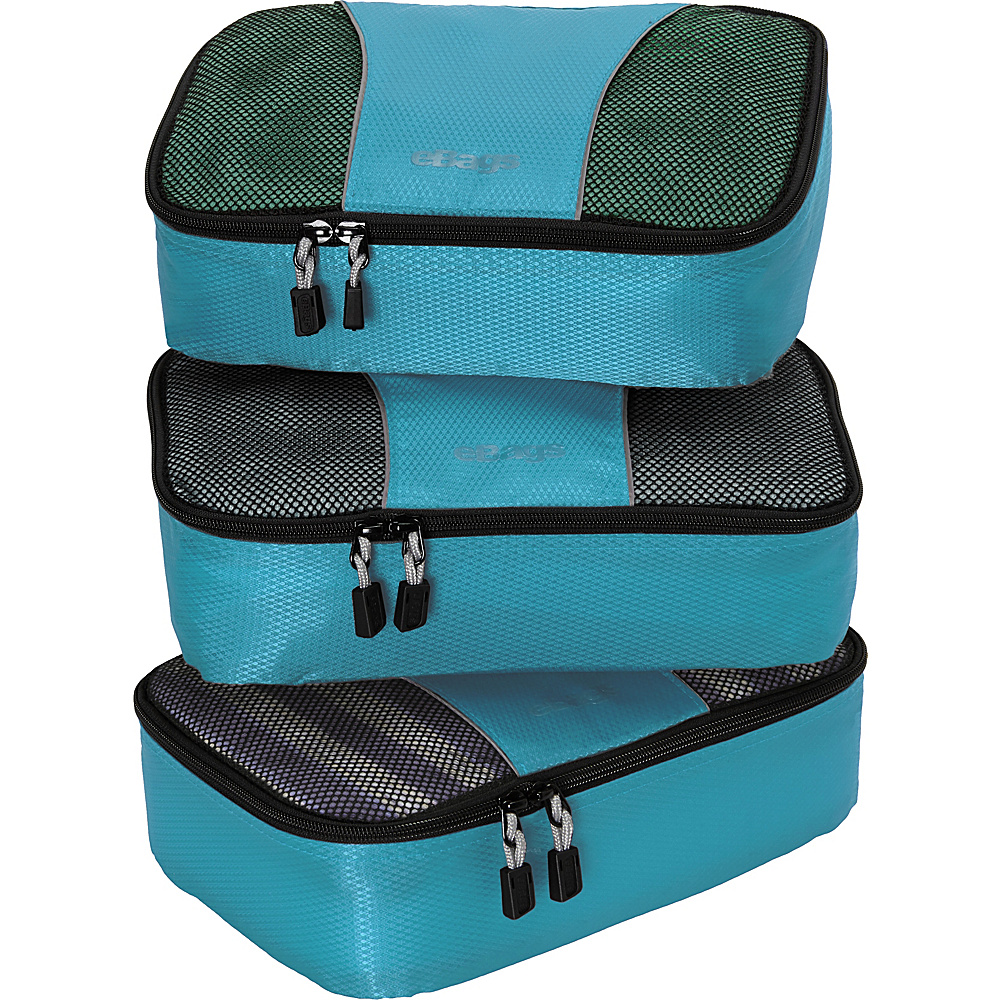 eBags Small Packing Cubes - 3pc Set - Aquamarine - Travel Accessories, Travel Organizers