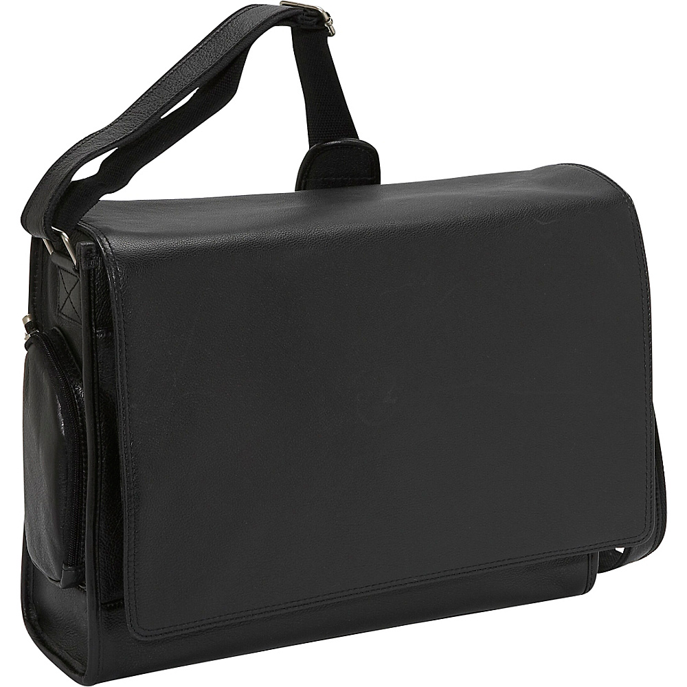 Bellino The Cancun Leather Computer Sling Black - Bellino Messenger Bags