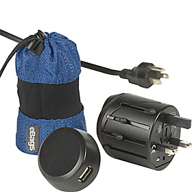 Universal Plug Adapter Kit w/USB Charger Denim