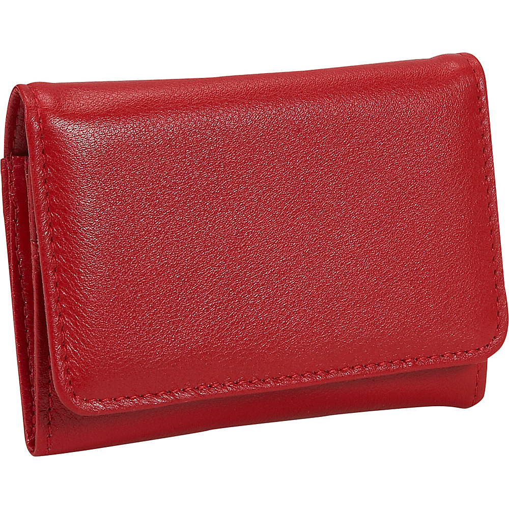 Budd Leather Cowhide Change Purse w Key Ring Red Budd Leather Women s Wallets