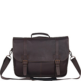 Show Business - Columbian Leather Flapover Computer Case Brown