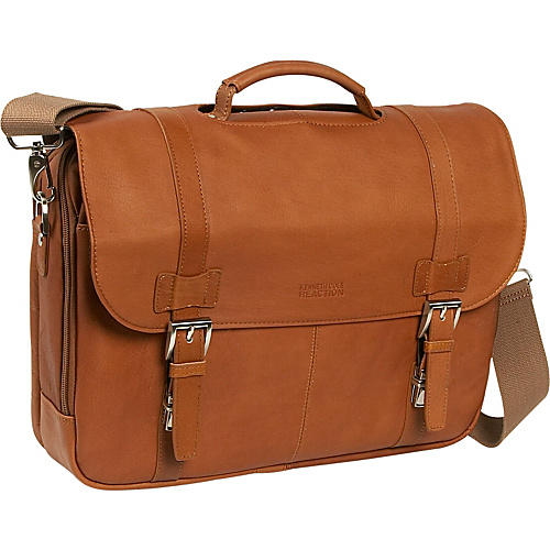 Kenneth Cole Reaction Columbian Leather Flapover Computer Case Tan - Kenneth Cole Reaction Non-Wheeled Computer Cases