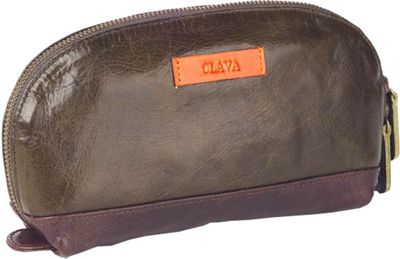 Clava Glazed Leather Accessory Pouch - Glazed Green