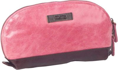 Clava Glazed Leather Accessory Pouch - Glazed Pink