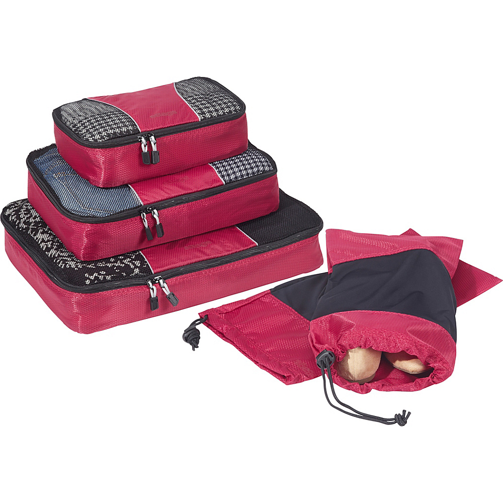 eBags Value Set: Packing Cubes + Shoe Sleeves Raspberry - eBags Travel Organizers - Travel Accessories, Travel Organizers