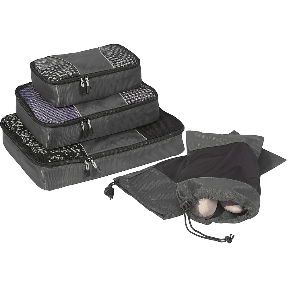 eBags Value Set: Packing Cubes + Shoe Sleeves Titanium - eBags Travel Organizers - Travel Accessories, Travel Organizers