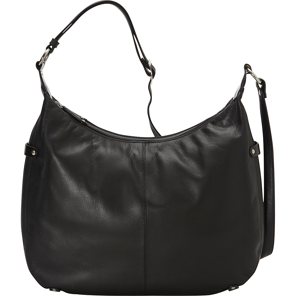 Derek Alexander Patent Trimmed Large Hobo Black Black Derek Alexander Leather Handbags
