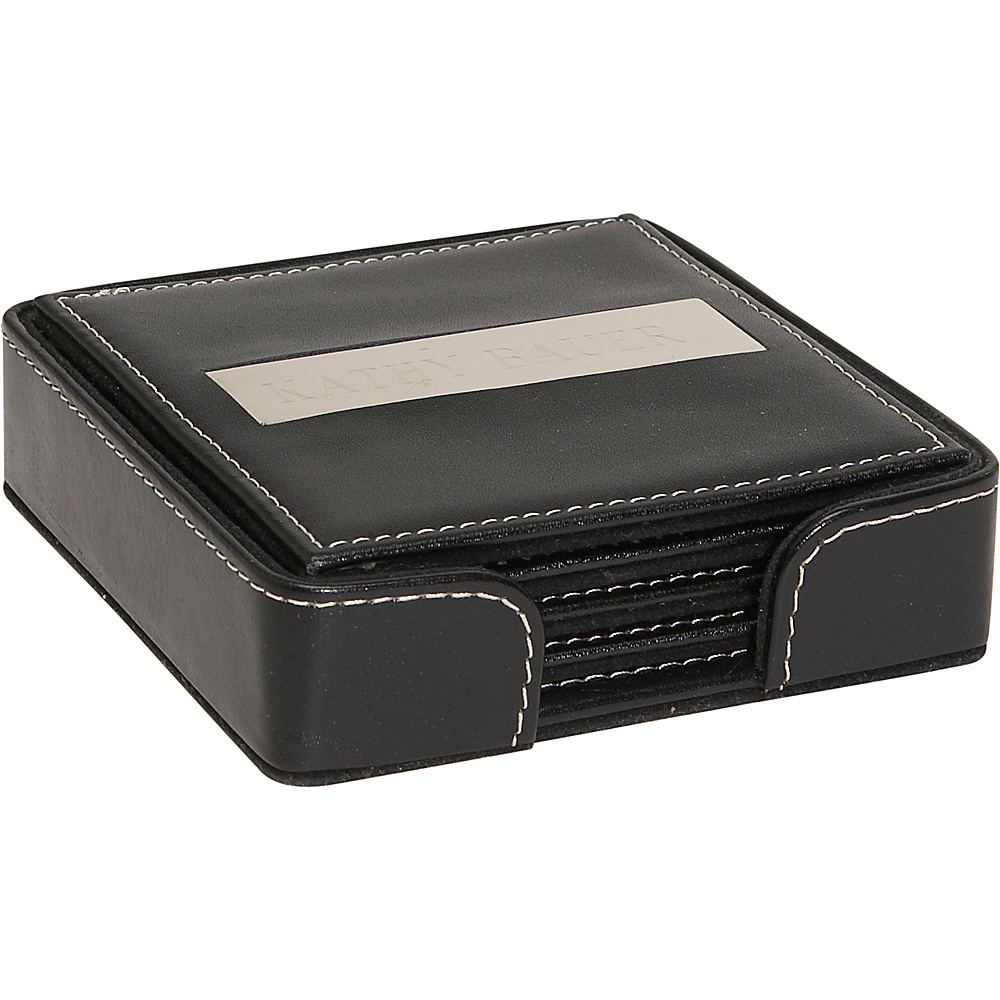 Royce Leather 3 Engraved Plate Square Coasters - Black - Work Bags & Briefcases, Business Accessories
