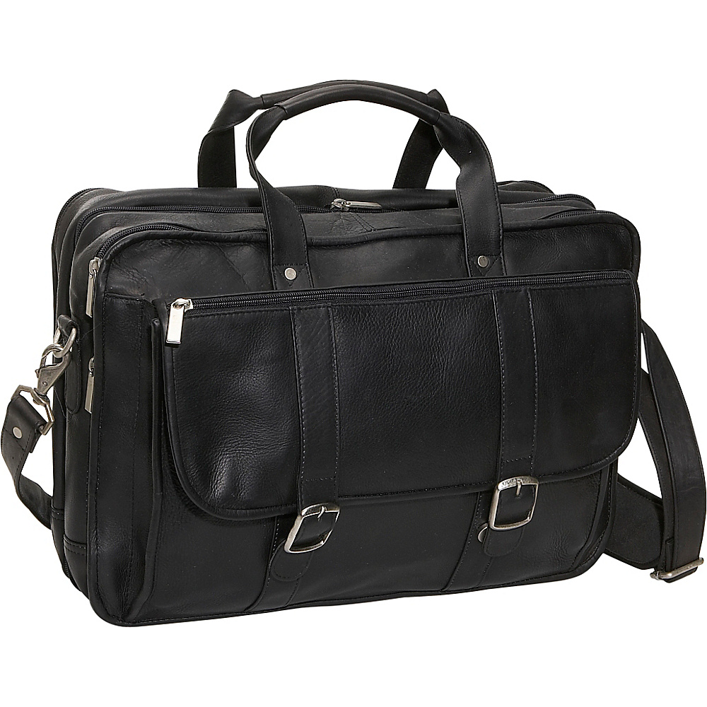 David King & Co. Expandable Laptop Briefcase - Black - Work Bags & Briefcases, Non-Wheeled Business Cases