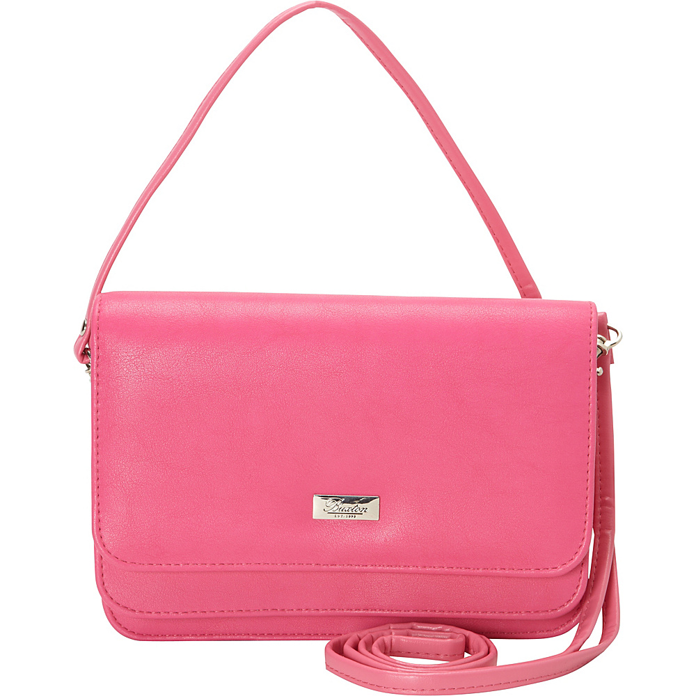 Buxton Double Flap Mini Bag with Total Wallet Organization Fuschia Buxton Leather Handbags