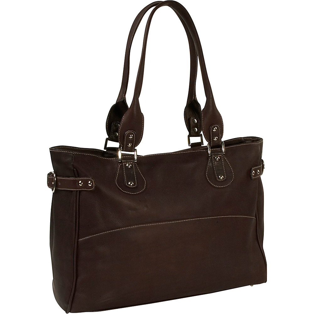Piel Ladies Large Side Strap Laptop Tote - Chocolate