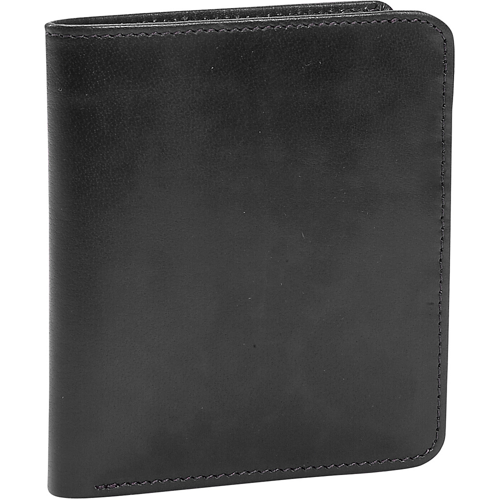 Leatherbay Mens Double Fold Leather Wallet - Black - Work Bags & Briefcases, Men's Wallets