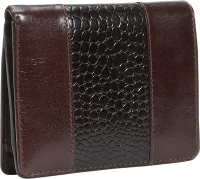 Leatherbay Leather Wallet w/Croc Accents - Mahagony