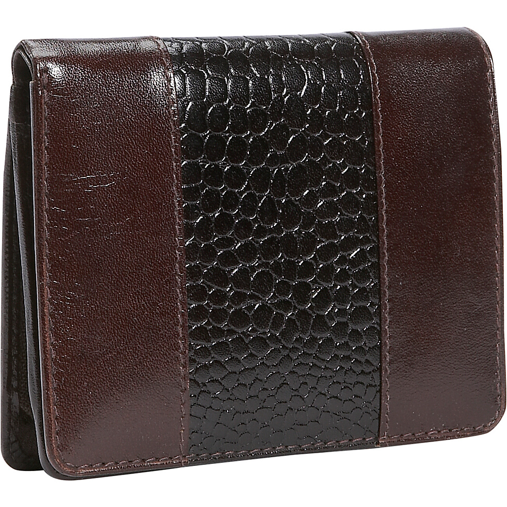 Leatherbay Leather Wallet w/Croc Accents - Mahagony - Women's SLG, Women's Wallets