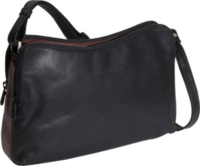 Derek Alexander Double zip Handbag - Black and Brandy