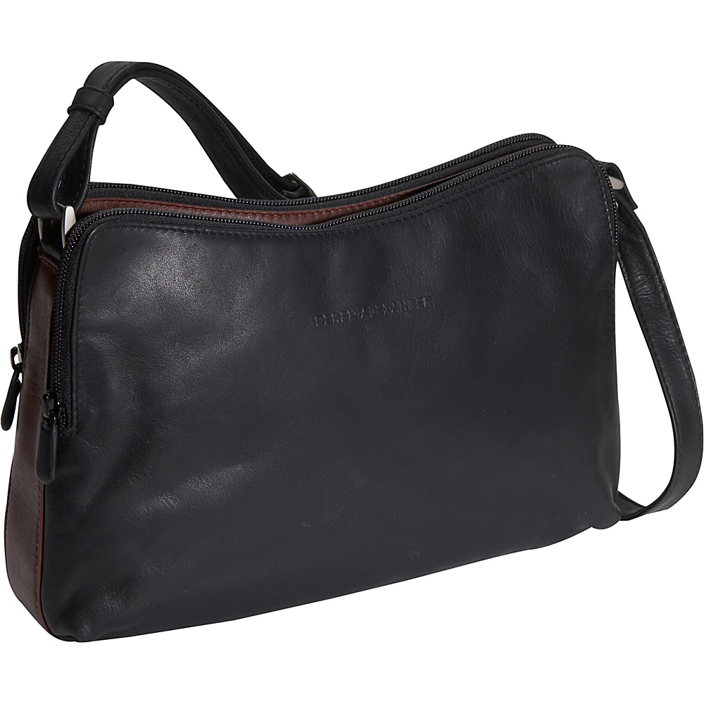 Derek Alexander Double zip Handbag - Black and Brandy - Handbags, Leather Handbags