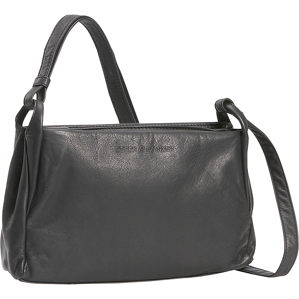 Derek Alexander Small Two Top Zip Handbag - Black - Handbags, Leather Handbags