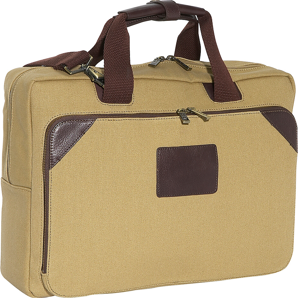 Clava Canvas Laptop Briefcase - Khaki Canvas w/Cafe - Work Bags & Briefcases, Non-Wheeled Business Cases