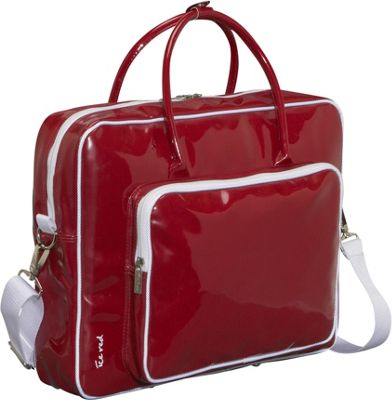 Ice Red Shine Glossy Laptop Tote - Red