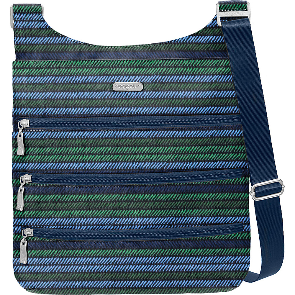 baggallini Big Zipper Bagg with RFID Moss Stripe - baggallini Fabric Handbags - Handbags, Fabric Handbags