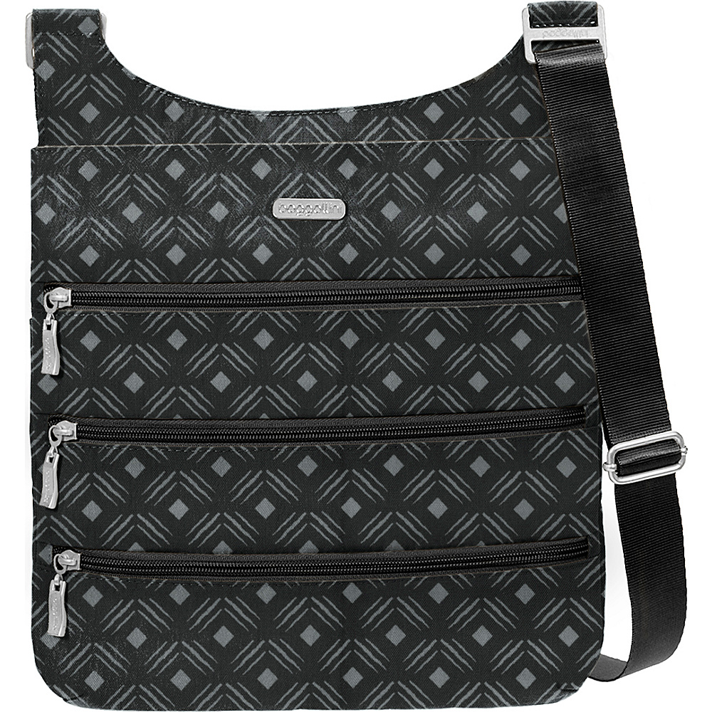 baggallini Big Zipper Bagg with RFID Black Diamond Print - baggallini Fabric Handbags - Handbags, Fabric Handbags