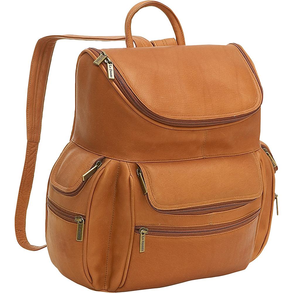 Le Donne Leather Computer Back Pack - Tan - Backpacks, Business & Laptop Backpacks