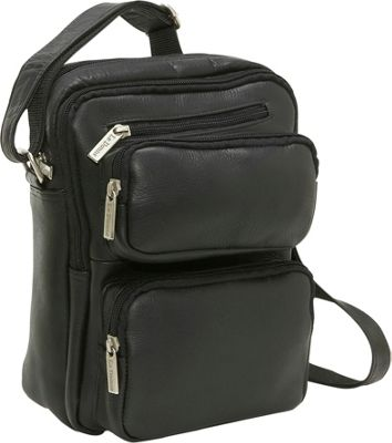 Image of Le Donne Leather Multi Pocket Mens Bag - Black