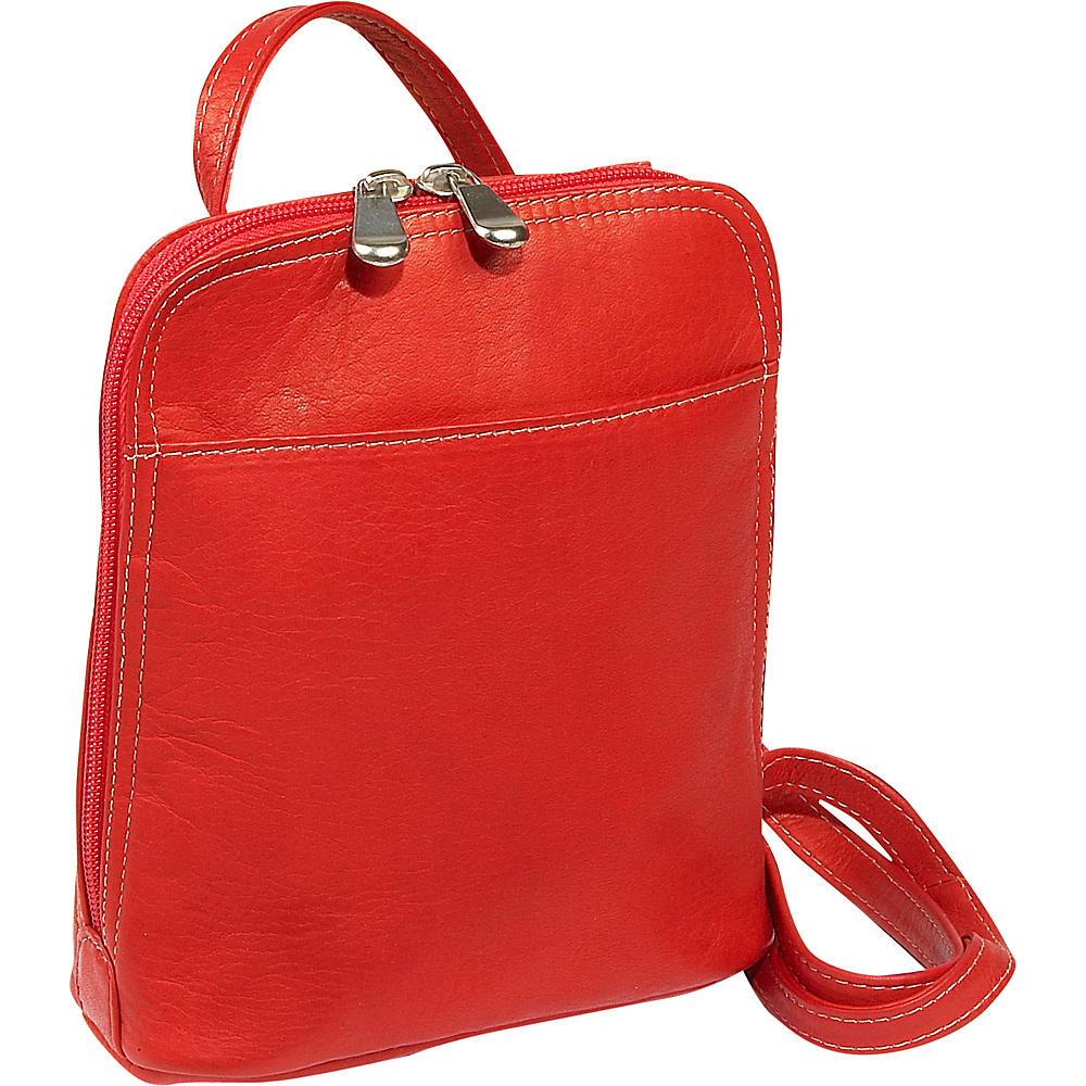 Le Donne Leather U-Zip Mini - Red - Handbags, Leather Handbags