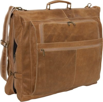 David King & Co. Distressed Leather 42 inch Garment Bag Distressed Tan - David King & Co. Garment Bags