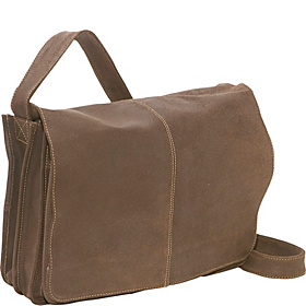 Distressed Leather Quick Access Messenger Chocolate