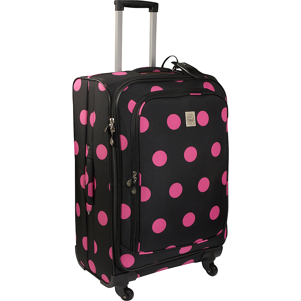 Jenni Chan Dots 25 Spinner - Black Pink - Luggage, Softside Checked