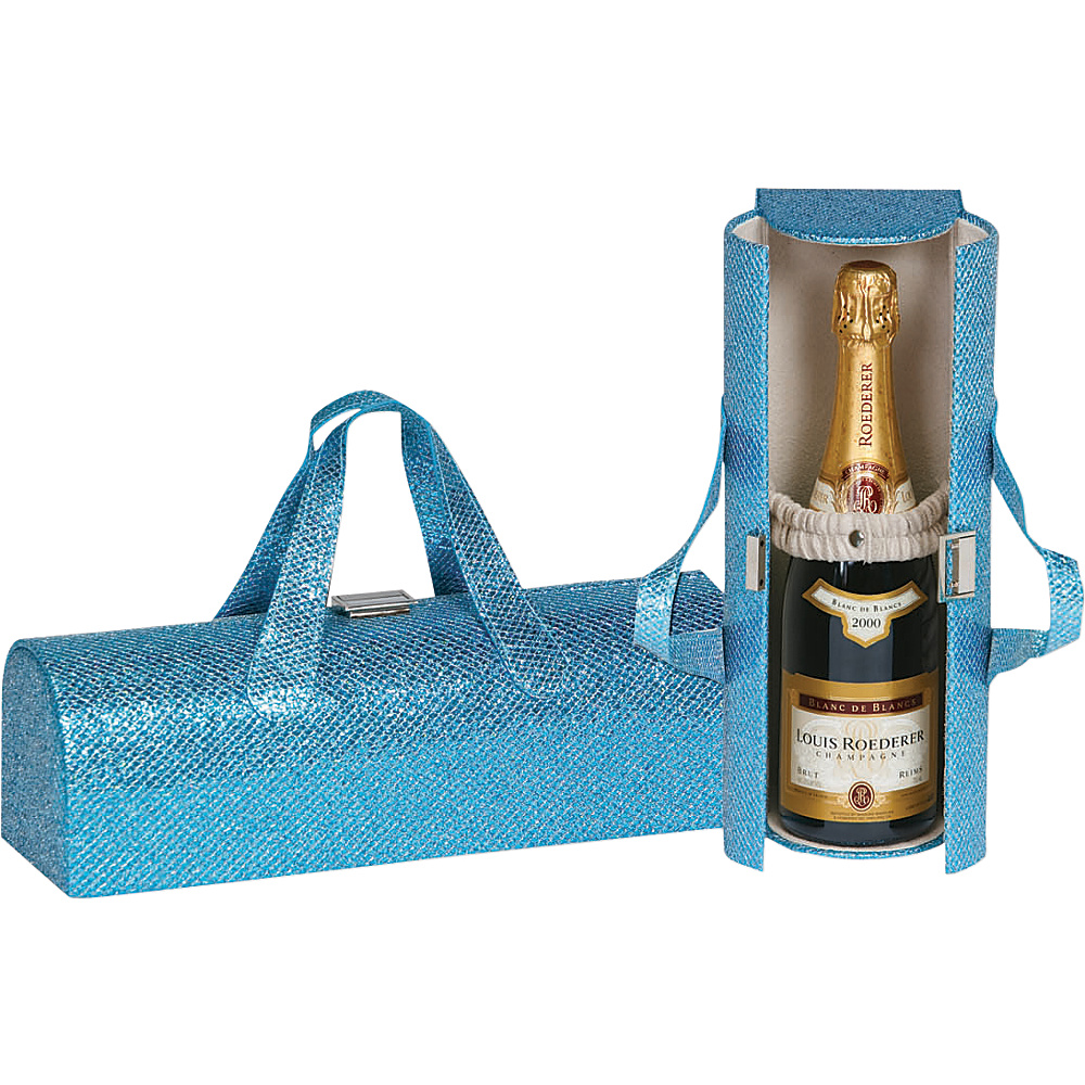 Picnic Plus Carlotta Clutch Wine Bottle Tote Glitter Turquoise - Picnic Plus Outdoor Accessories