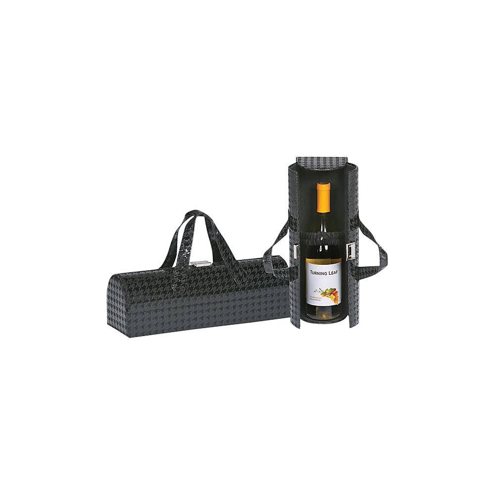Picnic Plus Carlotta Clutch Wine Bottle Tote Houndstooth Black - Picnic Plus Outdoor Accessories