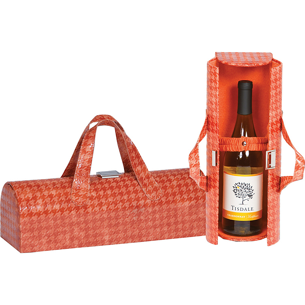 Picnic Plus Carlotta Clutch Wine Bottle Tote Houndstooth Caramel - Picnic Plus Outdoor Accessories