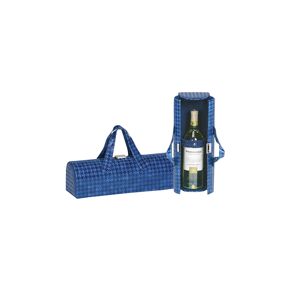 Picnic Plus Carlotta Clutch Wine Bottle Tote Houndstooth Navy - Picnic Plus Outdoor Accessories