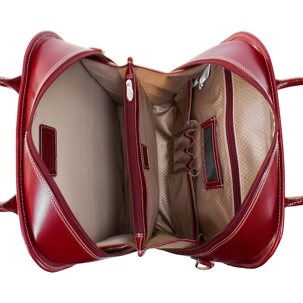 McKlein USA W Series La Grange Leather Vertical Detachable-Wheeled Ladies' Briefcase Red
