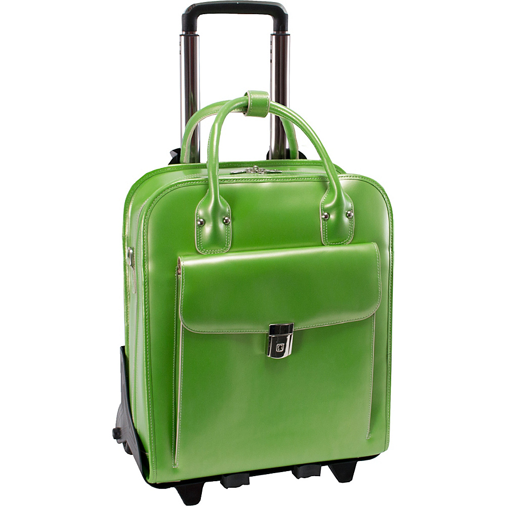 McKlein USA W Series La Grange Leather Vertical Detachable-Wheeled Ladies Briefcase Green - McKlein USA Wheeled Business Cases - Work Bags & Briefcases, Wheeled Business Cases