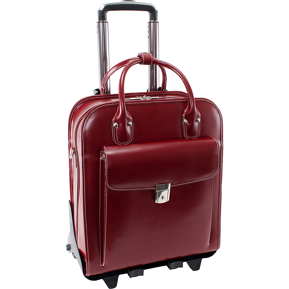 McKlein USA W Series La Grange Leather Vertical Detachable Wheeled Ladies Briefcase Red