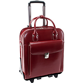 W Series La Grange Leather Vertical Detachable-Wheeled Ladies' Briefcase   Red