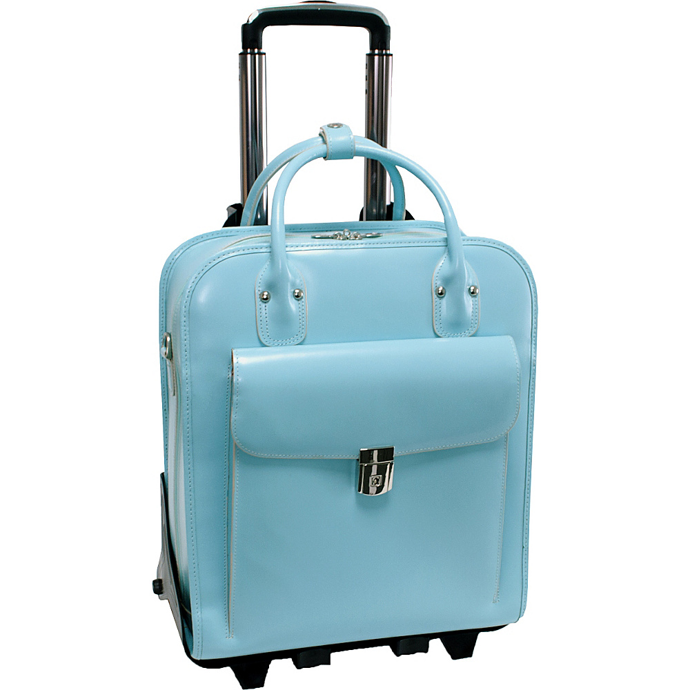 McKlein USA W Series La Grange Leather Vertical Detachable-Wheeled Ladies Briefcase Aqua Blue - McKlein USA Wheeled Business Cases - Work Bags & Briefcases, Wheeled Business Cases