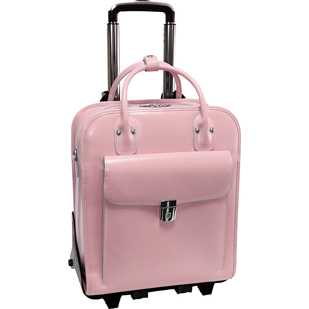 McKlein USA W Series La Grange Leather Vertical Detachable-Wheeled Ladies Briefcase Pink - McKlein USA Wheeled Business Cases - Work Bags & Briefcases, Wheeled Business Cases