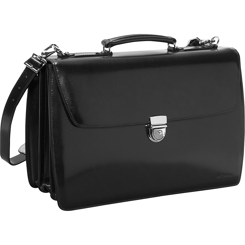 Jack Georges Elements Collection Triple Gusset Flapover Laptop Leather Briefcase Black - Jack Georges Non-Wheeled Business Cases