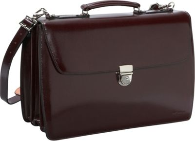 Jack Georges Elements Collection Triple Gusset Flapover Laptop Leather Briefcase Burgundy - Jack Georges Non-Wheeled Business Cases