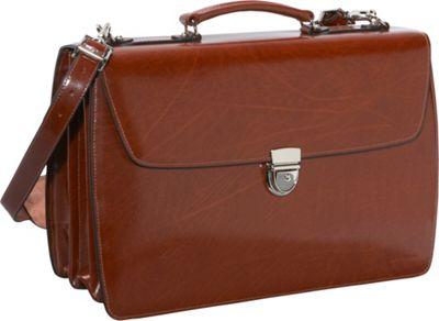 Jack Georges Elements Collection Triple Gusset Flapover Laptop Leather Briefcase Cognac - Jack Georges Non-Wheeled Business Cases