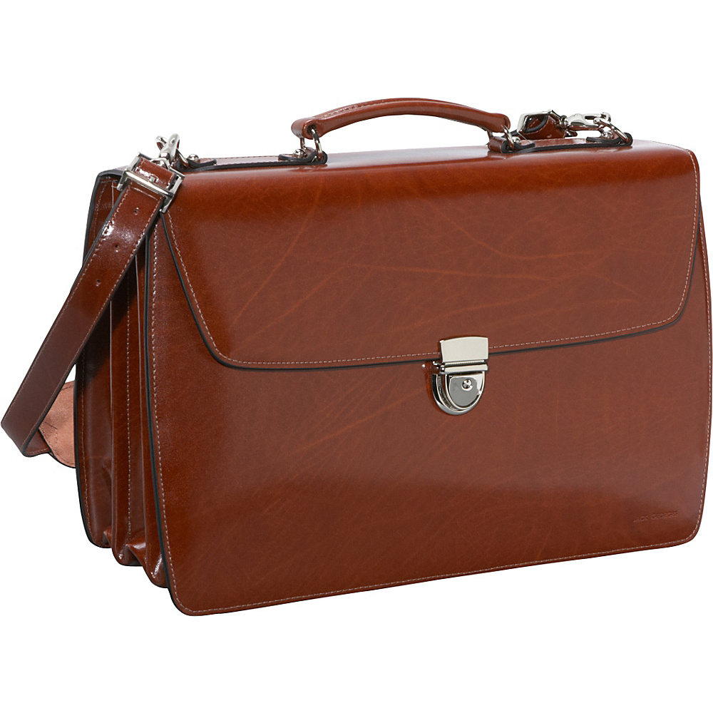 Jack Georges Elements Collection Triple Gusset Flapover Laptop Leather Briefcase Cognac - Jack Georges Non-Wheeled Business Cases