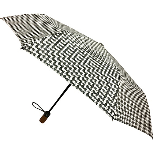 London Fog Umbrellas Auto Open Close Umbrella Houndstooth - London Fog Umbrellas Umbrellas and Rain Gear